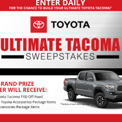 Win A Car Sweepstakes >> Win A Toyota Tacoma Truck Sweep Geek